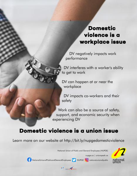 Image of the NUPGE poster on how domestic violence is a union issue.