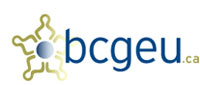 logo for B.C. Government and Serivce Employees Union (bcgeu.ca) in blue and yellow