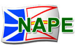 Newfoundland flag with the word NAPE across it (Newfoundland and Labrador Association of Public and Private Employees)