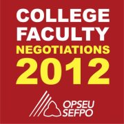 ref square with white lettering saying College Faculty, yellow lettering Negotiations 2012 OPSEU/NUPGE