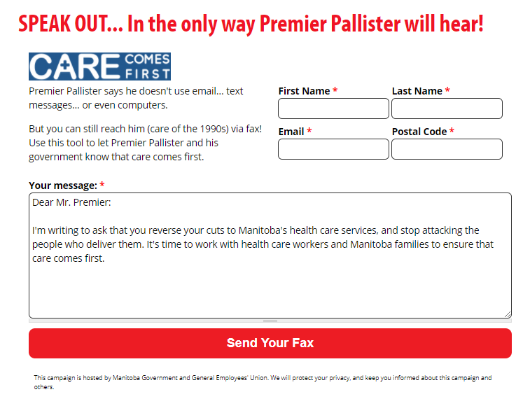 form to fill out to send fax to Brian Pallister about health care cuts