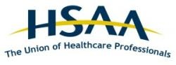 logo for the HSAA The union of Healthcare Professionals