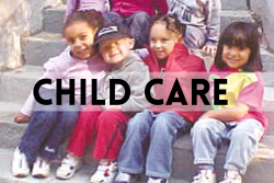 Children sitting outside on stone steps. Clicking the image takes you to NUPGE's work on child care