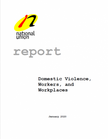 "The cover image for the NUPGE publication, ""Domestic Violence, Workers, and Workplaces."""