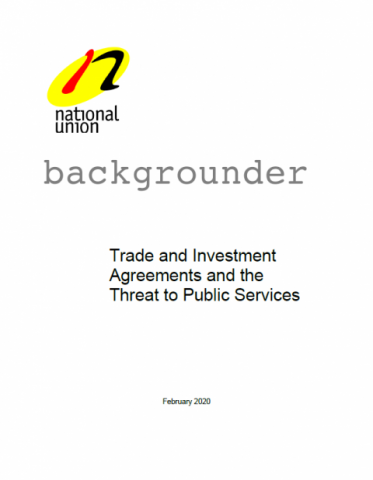 "Cover image for the NUPGE publication, ""Trade and Investment Agreements and the Threat to Public Services."""